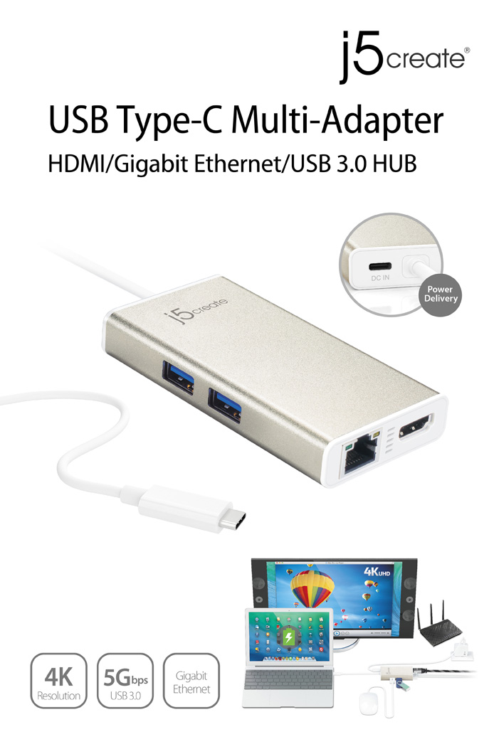 Buy the J5create USB-C 3 1 60W Power Delivery 4K HDMI Multi